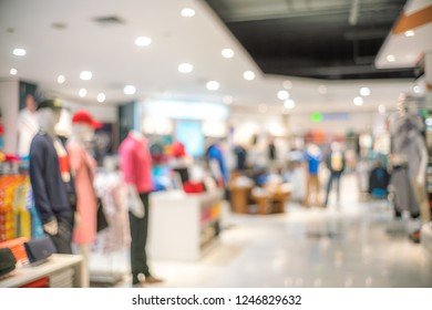Abstract blur of beautiful luxury clothes store and shopping mall interior for background