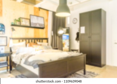 Abstract blur bedroom interior for background usage