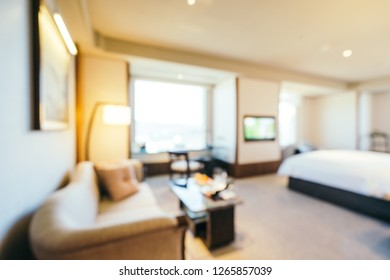 Abstract blur bedroom and living area interior for background