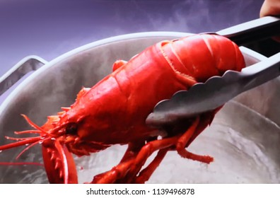 Abstract, blur, bokeh background, defocusing - image for the background. The cook cooked a lobster