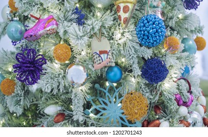 Abstract, blur, bokeh background, defocusing - image for the background. Christmas tree decorated