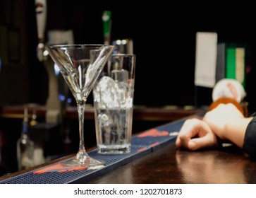Abstract, blur, bokeh background, defocusing - image for the background. Bar.The concept of work bartender