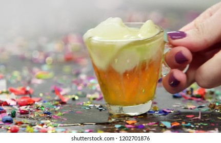 Abstract, blur, bokeh background, defocusing - image for the background. Cocktail, ice cream with whiskey