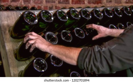 Abstract, blur, bokeh background, defocusing - image for the background. Champagne in France manufacturing concept