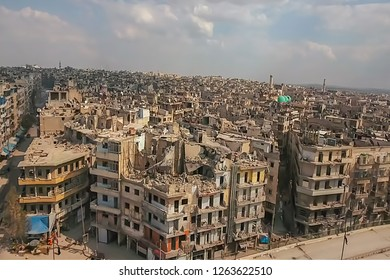 Abstract, blur, bokeh background, defocusing - image for the background. The war, the ruined city.