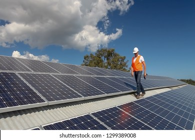Abstract, blur, bokeh background, defocusing - image for the background. A man working at solar power station