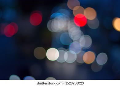 abstract and blur bokeh with dark blue color background
