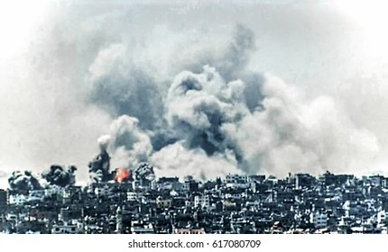 Abstract blur, bokeh, defocus - image for background. War in the Middle East, an explosion in the city