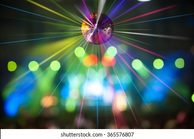 abstract blur bokeh disco dance and light ball for party background