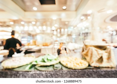 Abstract blur breakfast buffet catering in restaurant of hotel interior for background