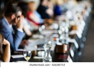 Abstract blur Business meeting, Conference and Presentation.  Seminar event room with window bokeh light background. Business concept