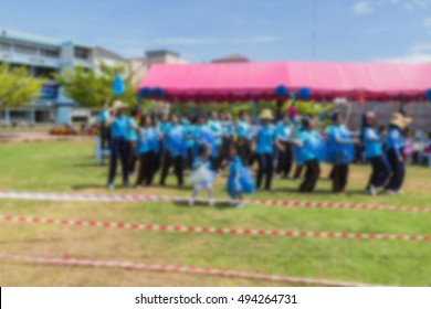 Abstract blur of children and students were dancing as cheer leader of Sports day team