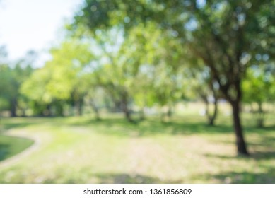 Abstract blur city park bokeh background - green nature or save environmental concept