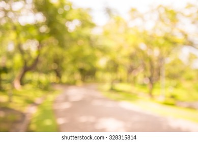 Abstract blur city park  with warm lighting background