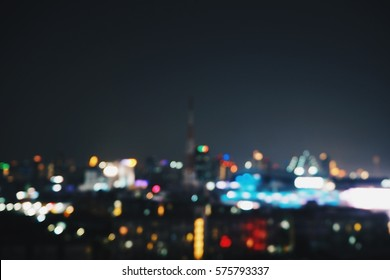 Abstract blur of cityscape in night in bangkok with bokeh