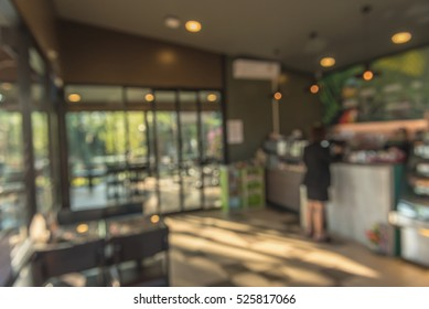 Abstract blur coffee and bakery shop of background.