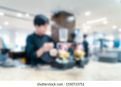 Abstract blur of coffee shope in process of brewing the coffee