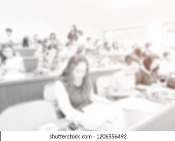 Abstract blur conference room of administrators and teacher. Meeting event planning and taught. Public business conventions background.