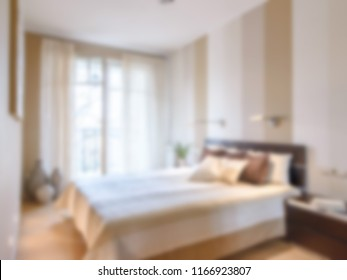 Abstract blur decofuced luxury bedroom design real estate for background