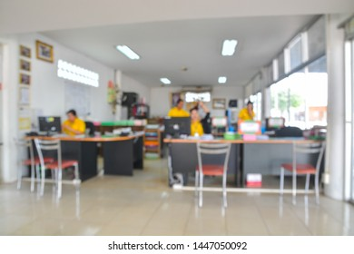 Abstract Blur of Defocus Background of Asian employee or colleague in office with desk and chair as Modern Urban Business Lifestyle