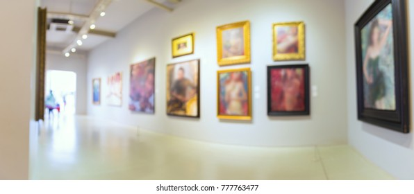 Abstract Blur Defocus Background of Modern Art Gallery Museum or Showroom exhibit Picture or Painting with Light Bokeh as Modern Urban Lifestyle