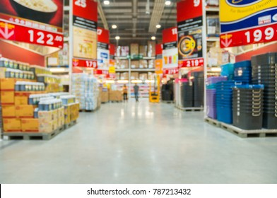 Abstract Blur Defocus Background of Product Shelf in Hypermarket or Supermarket Retail Store Outlet as Modern Lifestyle Concept