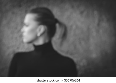 Abstract blur or defocus Background of woman,black and white photo
