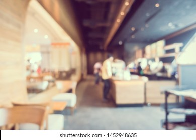 Abstract blur and defocus coffee shop cafe and restaurant interior for background