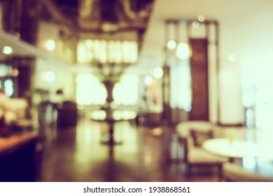Abstract blur and defocus restaurant and coffee shop cafe interior for background
