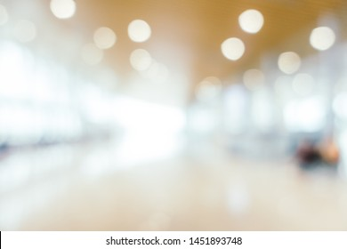 Abstract blur and defocused airport passenger terminal for transportation interior for background