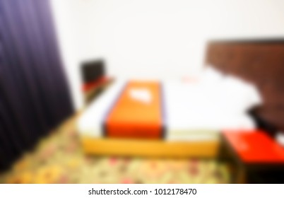 Abstract blur and defocused bedroom interior for background