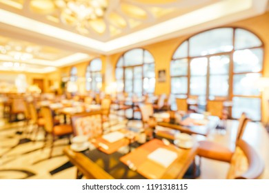 Abstract blur and defocused breakfast buffet in hotel restaurant and coffee shop cafe interior for background
