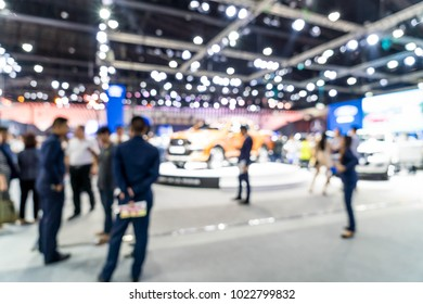 Abstract blur and defocused car and motor exhibition show event for background