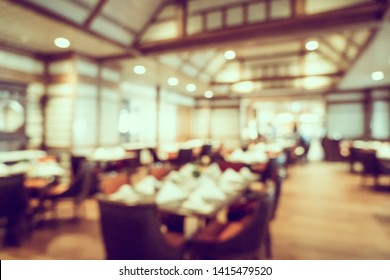Abstract blur and defocused coffee shop and buffet restaurant interior for background
