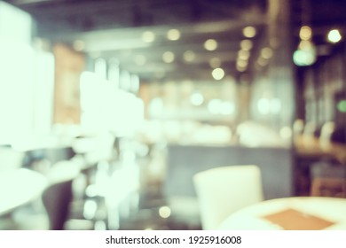 Abstract blur and defocused coffee shop cafe and restaurant interior for background