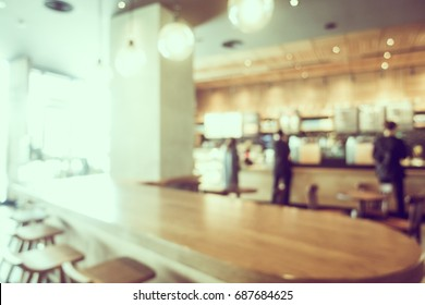 Abstract blur and defocused coffee shop and bakery cafe interior for background - Vintage Filter