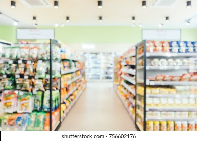 Abstract blur and defocused convenience and supermarket store interior for background