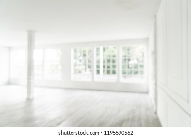 abstract blur and defocused empty room with glass window for background