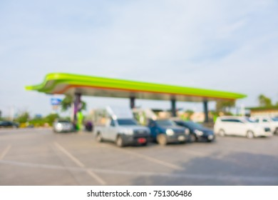 Abstract blur and defocused gas station for background