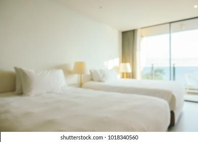Abstract blur defocused hotel bedroom interior for background