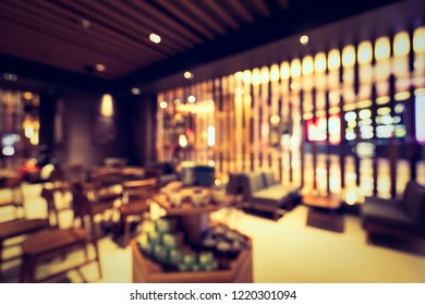 Abstract blur and defocused hotel buffet restaurant and coffee shop cafe interior for background