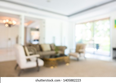 Abstract blur and defocused hotel lobby and hall interior for background