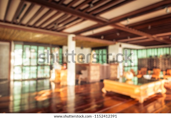 Abstract blur and defocused hotel lobby and resort interior for background and surface