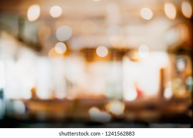 Abstract blur and defocused interior coffee shop or cafe for background.