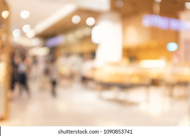 abstract blur and defocused interior of modern department store at bakery shop with beautiful bokeh for background