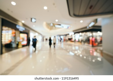 Abstract blur and defocused luxury shopping mall interior in department store for background