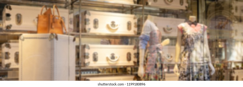 Abstract blur and defocused luxury shopping mall and retail store background. Elegant design in banner size for Business and Shopping concept