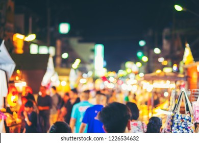Abstract blur and defocused night local market in hua hin province in Thailand of asian night market, a popular destination for local tourists.