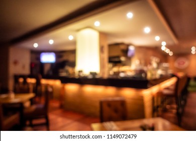 Abstract blur and defocused restaurant and coffee shop interior for background and surface