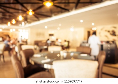 Abstract blur defocused restaurant and coffee shop interior for background - Vintage Filter